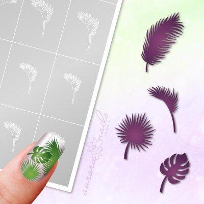 Klebeschablonen Set Palmen Blätter - SET106