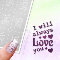 Klebeschablonen Schriftzug Love you - TX085