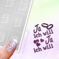 Klebeschablonen Schriftzug Ja ich will - TX088